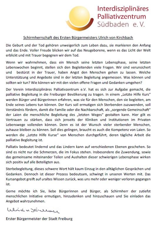Schirmherr Erster Bürgermeister Ulrich von Kirchbach